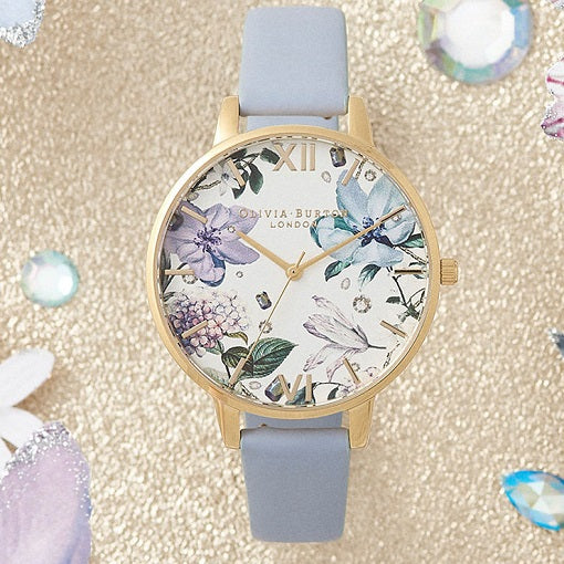 Olivia Burton Floral Gold Coloured Case Blue Band