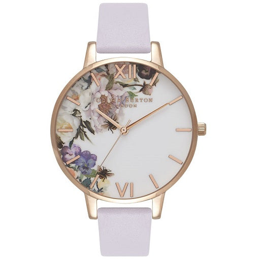 Olivia Burton Enchanted Rose Gold Coloured Case Violet Strap
