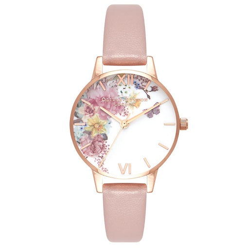 Olivia Burton Enchanted Rose Gold Coloured Case Sand Strap