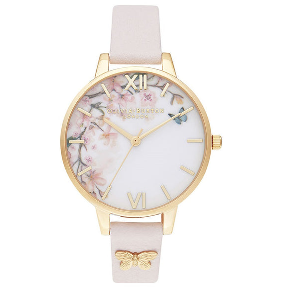 Olivia Burton Pretty Blossom Gold Coloured Case Grey Strap