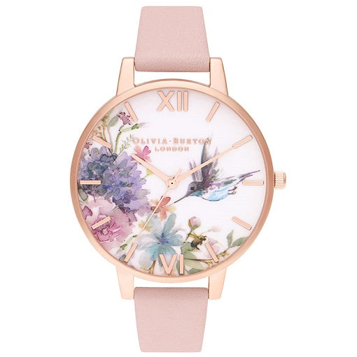 Olivia Burton Painterly Rose Gold Coloured Case Pink Strap