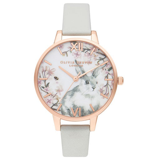 Olivia Burton Pretty Blossom Rose Gold Coloured Case Grey Strap