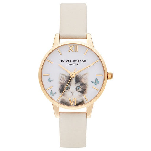 Olivia Burton Animals Gold Coloured Case Grey Strap