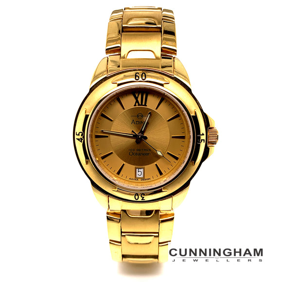Adina Stainless Steel Gents 100M Water Resistant Oceaneer Gold Plated Sapphire Crystal Glass
