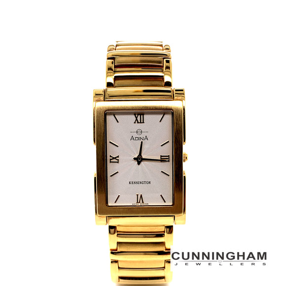 Adina Stainless Steel Gold Plated Kensington 30M Water Resistant Sapphire Crystal Glass