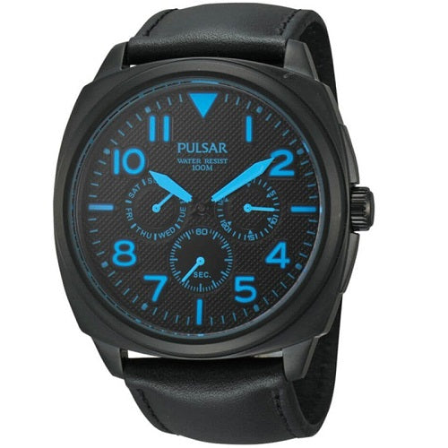 Pulsar Mens Blackened Stainless Steel Leather Strap 100M Sports