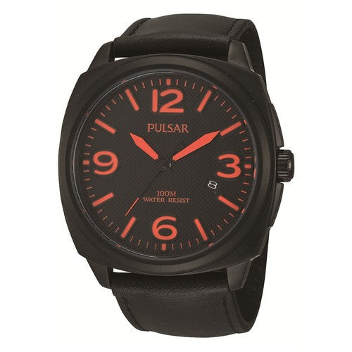 Pulsar Mens Blackened Stainless Steel 100M Water Resistant Leather Strap