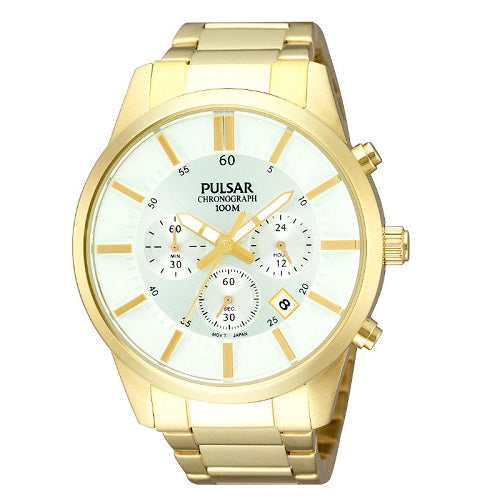 Pulsar Mens Gold Plated Stainless Steel 100M Water Resistant Chronograph