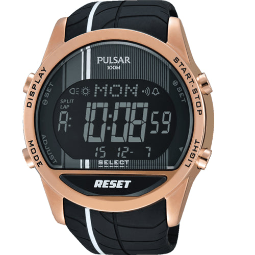 Pulsar Mens Digital Rose Gold Plated Stainless Steel 100M Chronograph