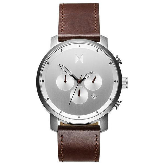 MVMT Chronograph Sliver Brown Leather 50M W/R