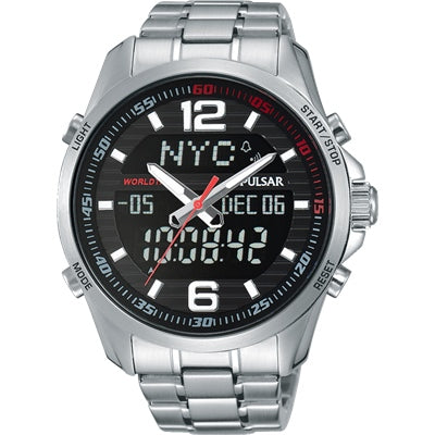 Pulsar Mens Stainless Steel World Time Duo 100M Water Resistant