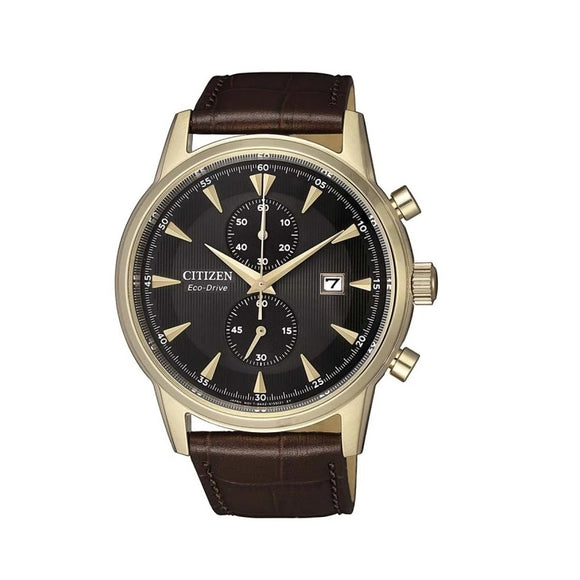 Citizen Eco-Drive 100M Water Resistant Leather Band Chronograph