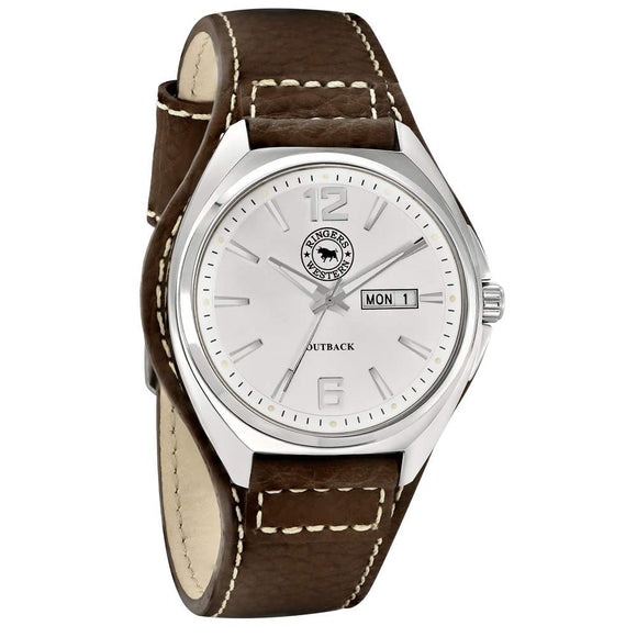 Ringers Western Stainless Steel Silver Dial Leather Strap