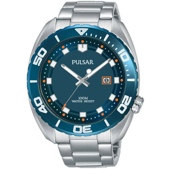 Pulsar Mens Sports Stainless Steel 100M Water Resistant
