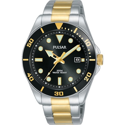 Pulsar Mens Sports 100M Water Resistant Stainless Steel