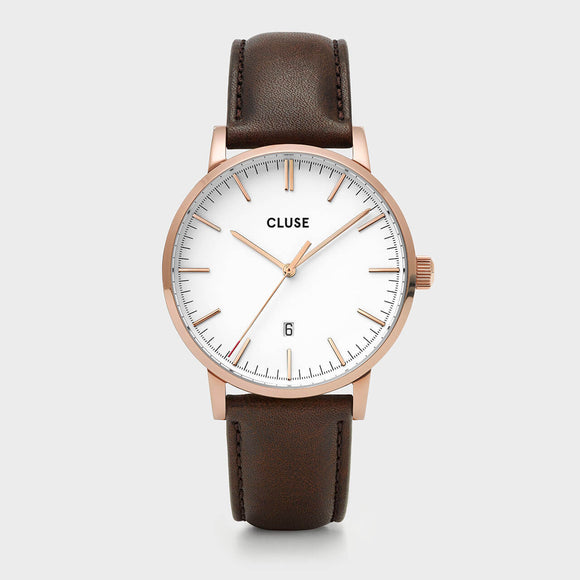 Cluse Aravis Leather Rose Gold Wh/Dark Brown