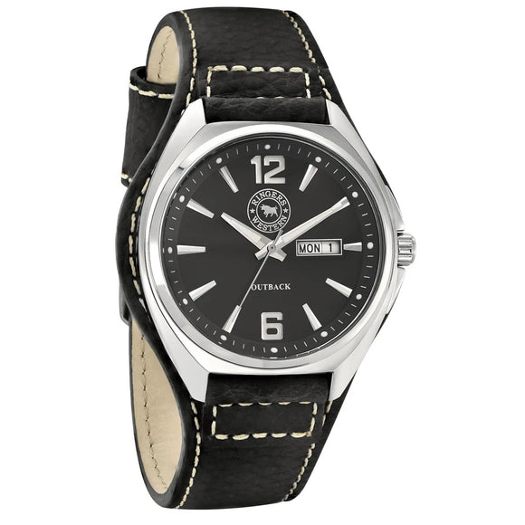 Ringers Western Stainless Steel Black Dial Leather Strap