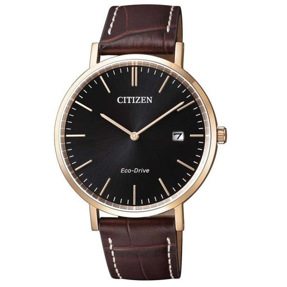 Citizen Eco-Drive Leather Strap Water Resistant Sapphire Crystal Glass
