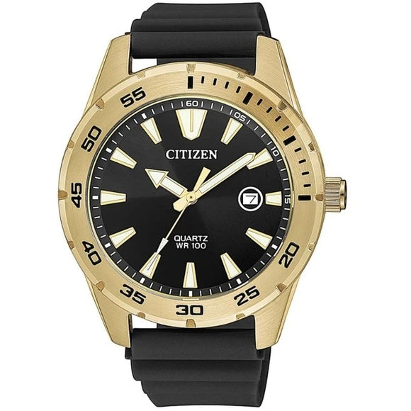 Citizen Quartz Rubber Strap Stainless Steel Gold Plated 100M Water Resistant