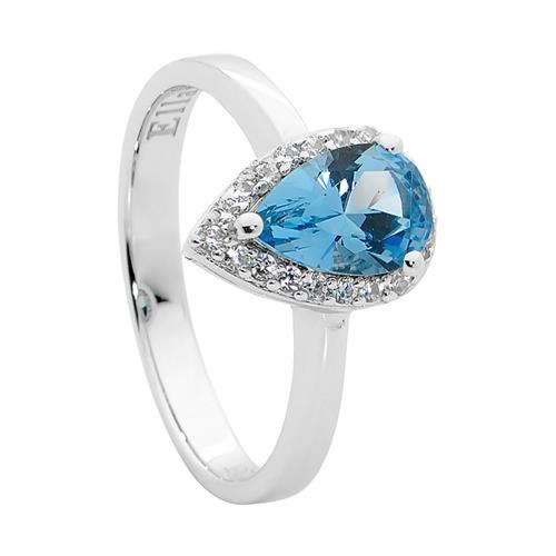 Ellani Sterling Silver Blue CZ Ring