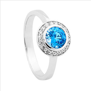 Ellani Sterling Silver Blue and White CZ