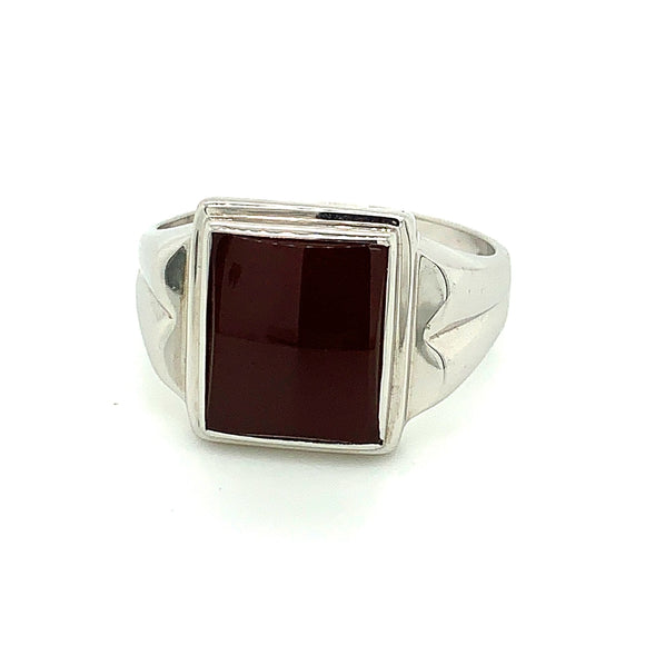 Sterling Silver 12X10mm Rectangle Red Carnelian Ring