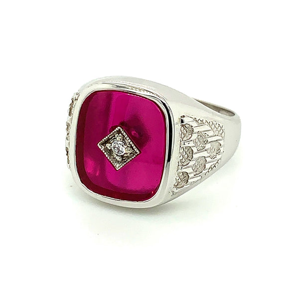 Sterling Silver Synthetic Ruby Ring CZ Centre Stone