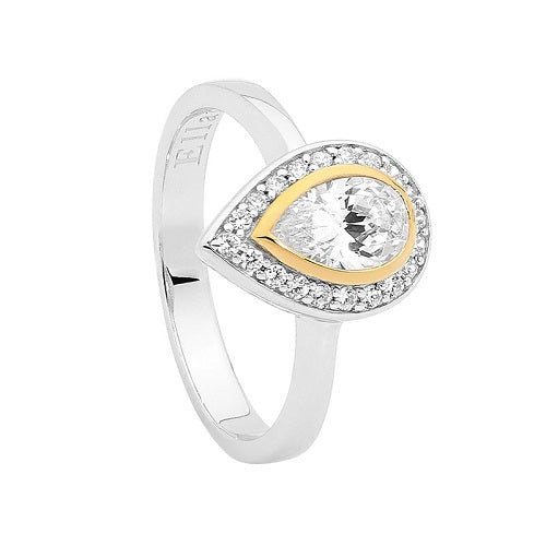 Ellani Sterling Silver Pear CZ Gold Plated Bezel