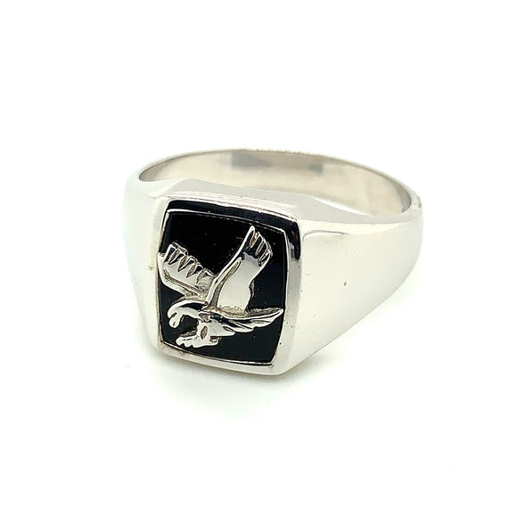 Sterling Silver 12X10 Onyx Eagle Ring