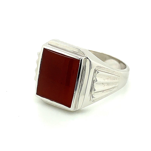 Sterling Silver 12X10 Rectangle Red Carnelian Gents Ring
