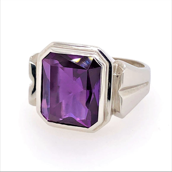 Sterling Silver Synthetic Alexandrite Gents Ring