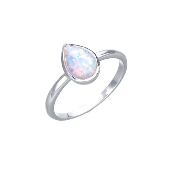Sterling Silver Pear Celline Opal Fine Ring Size M