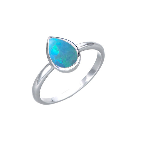 Sterling Silver Pear Celline Blue Opal Ring Size N