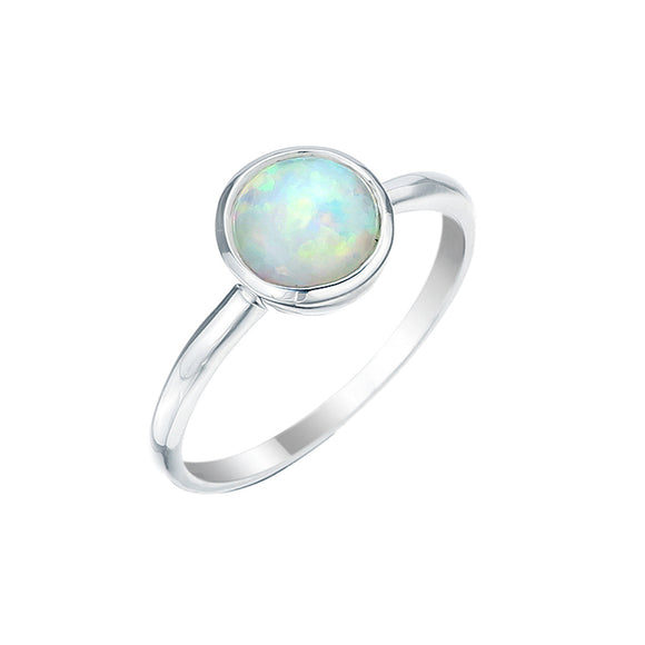 Sterling Silver 8mm Round Celline Blue Opal Fine Ring Size M