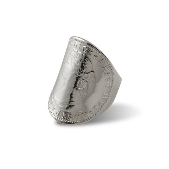 Sterling Silver Large Curved Token Coin Ring Queen Size Q