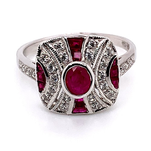 Natural Ruby And CZ Art Deco Style Ring