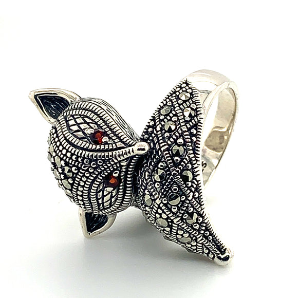Sterling Silver Marcasite And Garnet Fox Ring