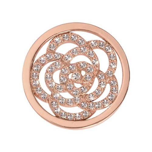 Nikki Lissoni 23Mm Coin Rose Gold Plate Sparkling Flower