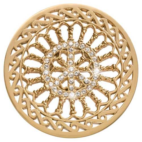 Nikki Lissoni Crystal Peace 43mm Gold Plated Coin