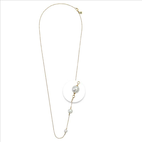 Nikki Lissoni White Pearl Gold Plated 80cm Chain