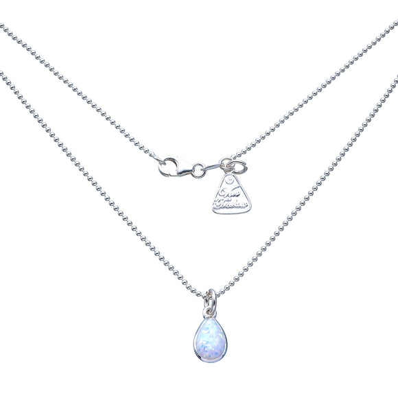 Sterling Silver Fine Ball Chain Pear Shape Celline Opal Neacklace 42cm