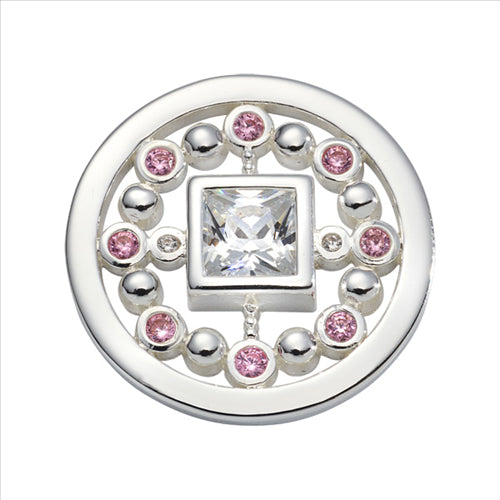 Nikki Lissoni Pink Mirror Silver Plated 23mm Coin