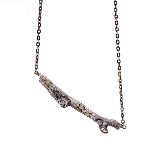 Sterling silver Sand Cast Twig with Natural Rough Diamonds
