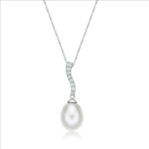 Sterling Silver 8mm Fresh Water Pearl Pendant With Chain