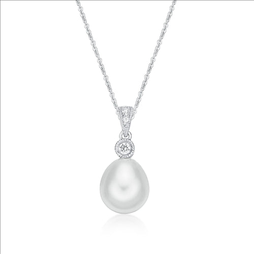 Stelring Silver Fresh Water Pearl and CZ Pendant with Chain