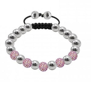 Tresor Paris Stainless Steel and Pink Swarovski Crystals