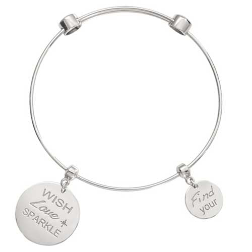 Nikki Lissoni Wish Love Sparkle Silver Plated Bangle19cm