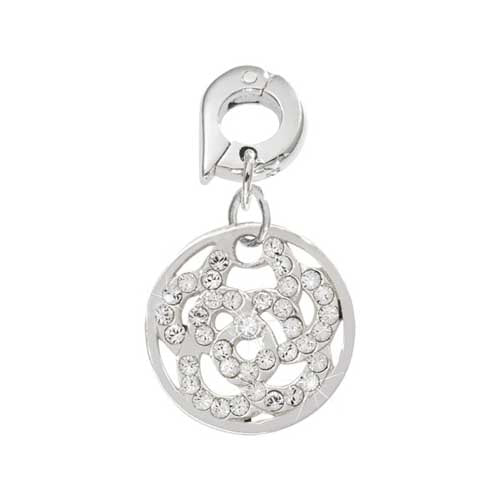 Nikki Lissoni Sparkling Flower Silver Plated 15mm Charm/Pendant
