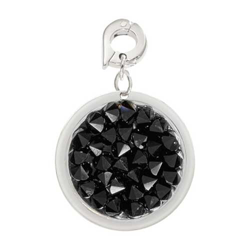 Nikki Lissoni Black Rock Crysta Silver Plated 20mm Charm/Pendant
