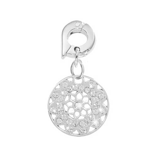Nikki Lissoni Vintage Flower Silver Plated 15mm Charm/Pendant